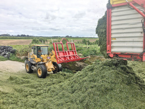 Silage contractors at work on a Taranaki farm last week: Photo: Matthew Herbert.