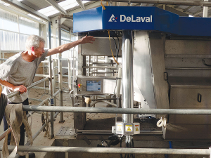 The modified DeLaval robotic milker for the buffalo herd.