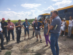 NZ and Australian farmers visiting a farm between Odessa and Kiev in Ukraine; Eric Watson is front centre in shorts and a dark blue top.