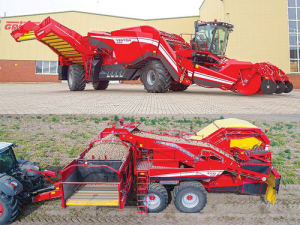 The flagship, four-row Ventor 4150 has a 15-tonne bunker capacity (top) and the two-row trailed bunker Evo 290 harvester has a 9-tonne bunker and three-wheeled TriSys chassis.