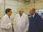 Scottie Chapman, chief executive Spring Sheep Dairy, talks with Steven Joyce and Hamilton East MP David Bennett at the new plant last week.
