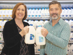 Carolyn Mortland Head of Sustainability Fonterra and Chris Anderson Merchandise Manager Chilled Beverages Foodstuffs North Island.
