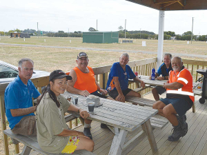 Northland field days committee members (from left) Ross Newlove, Gail Cole, Basil Cole, Shane Hanley, Ned Stevens and John Phillips take a well-earned break from marking out the Dargaville showgrounds site  late last month.