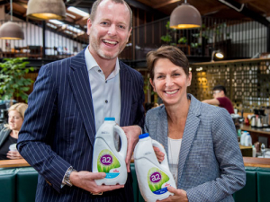 Fonterra's Grant Watson (left) and a2 Milk Company managing director Jayne Hrdlicka.