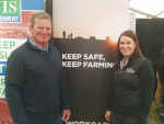 Worksafe New Zealand Safer Farms ambassador Richard Loe with Worksafe inspector Tiffany Boyle at the Worksafe stand at the 2017 South Island Agricultural Field Days at Kirwee.