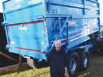 James Stewart with his company's Pro-Series trailer at Fieldays.