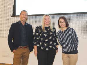 Janice Byrnes (centre) with Zespri marketing team colleagues Lai Kim and Hayden Brewerton.