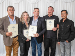 Miraka Excellence Awards 1 Certificate Holders - representatives from Te Raparahi Trust including Phillip Samuels, Murray and Tracey Simpson, Craig Walker & Dave Bajoyo.