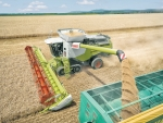 The Claas Lexion 700 combine harvester.