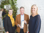 Peter Cullinane, Lewis Road Creamery flanked by Alison Gibb, Jersey NZ and Justine Kidd, Theland at the milk launch.