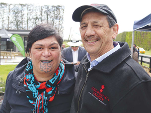 Ahuwhenua Trophy Management Committee chair Kingi Smiler and Minister of Māori Development Nanaia Mahuta pictured at the recent field day.
