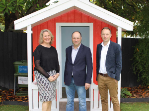 Ronald McDonald House South Island chief executive Mandy Kennedy, Alliance chief executive David Surveyor, and Alliance's general manager people and safety Chris Selbie.