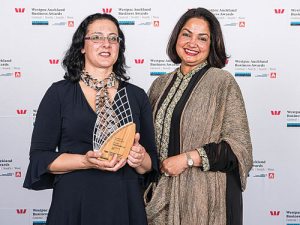 Natasha Maguire (left) receives her award for innovation.