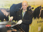 AgResearch senior scientist Matthew Barnett serving up Waygu treats to the punters at this year's National Fieldays.