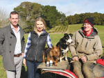 Josh Buckman with Hawke's Bay farmers Mike and Caroline Ritsson-Thomas and dogs Fergie and Thai.
