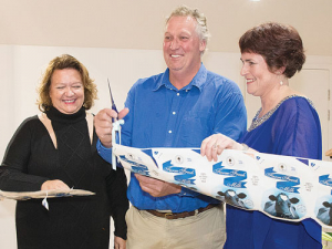 Gina Rinehart (left) joins Sue and Mat Daubney to launch the creamery in Western Australia.