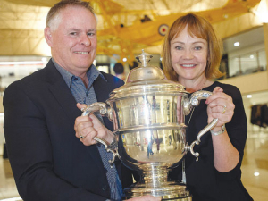 Peter McBride and wife Linda with the Horticulture Bledisloe Cup. SUPPLIED/Horticulture NZ