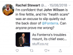 NZ Herald columnist Rachel Stewart's August 15 tweet.