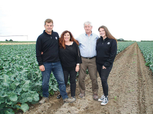 A family affair: Robin (left), Shirleen, Graeme and April Oakley in one of their broccoli paddocks. Photo: NZ Farm Environment Trust.